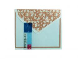 Wholesale 15 Count Blue And Brown Floral Notecard & Envelope Set