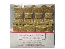 Wholesale 12 Count Gold Glitter Adhesive Bows